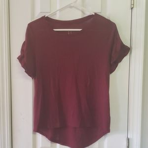 Maroon Short Sleeve Blouse
